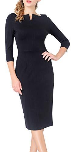 Marycrafts Women's Work Office Business Square Neck Sheath Midi Dress 14 Black