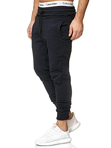 OneRedox Herren | Jogginghose | Trainingshose | Sport Fitness | Gym | Training | Slim Fit | Sweatpants Streifen | Jogging-Hose | Stripe Pants | Modell 5000C Navy L