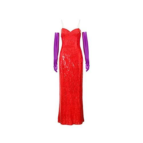 NUWIND Jessica Rabbit Abito da Donna Costume Rosso con Paillettes Sexy Set di Abiti con Top a Tubo Costume di Halloween per Adulti Cosplay in Costume S