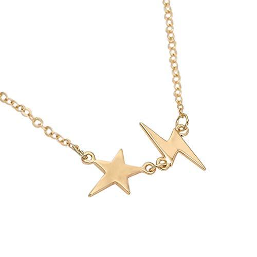 GuDeKe Damenschmuck modisch Gold Stern Blitz Anhänger Zubehör Stern Blitz-Halskette