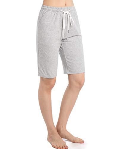 Ferrieswheel Story Bermudas para mujer, longitud a la rodilla, pantalones cortos de yoga con bolsillos para entrenamiento - gris - XXXL