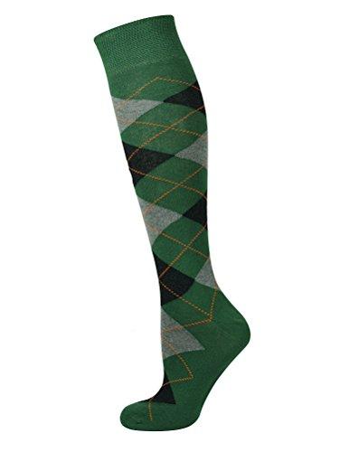 Mysocks Unisex Knee High Long Socks Argyle Green Ash Black Orange