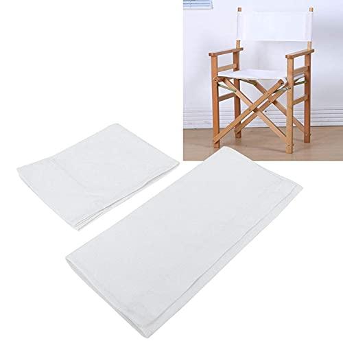 1 Set Fodere per sedie da Regista Tessuto sostitutivo in Tela Forniture per la casa Copertura Protettiva Accessori per mobili durevoli(Bianca)