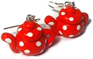 Red Polka Dot Teapot Earrings