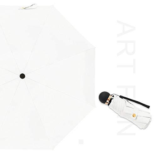 Sonnenschirm Regenschirm 8K Pure Color Rundgriff Regenschirm Für Frauen Männer Mini Taschenschirm Sonnenschirm Falten Rainy Uv Kleine Regenschirme Geschenke Weiß