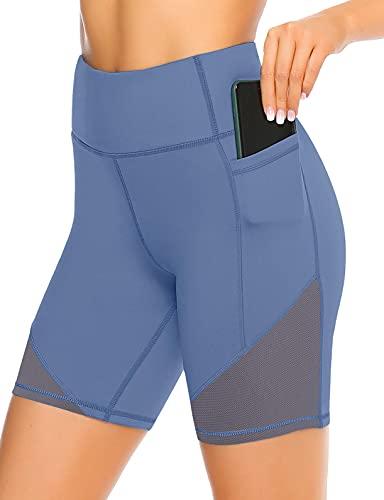 JOYSPELS Kurze Sporthose Damen mit Mesh - Atmungsaktive Radlerhose Kurz Leggings für Sport Alltag Sommer
