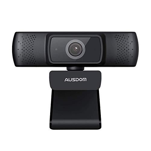 Autofokus FHD 1080P Webcam mit Kamera Abdeckungen, AUSDOM AF640 Business-Webkamera mit Dual Geräuschreduzierung-Mikrofone, 90° Sichtfeld für Desktop/Laptop/Mac, Funktioniert mit Skype/Zoom/WebEx/Lync