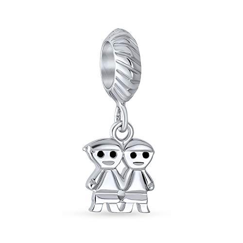 Bling Jewelry Sorelle Amici di Famiglia per Sempre BFF Penzolare Fascino Cordone per Donne Argento 925 Si Adatta Braccialetto Europeo