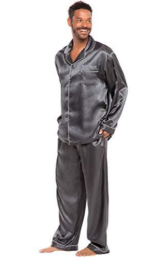 Alexander Del Rossa Mens Satin Pajamas, Long Button-Down Pj Set, Medium Steel Grey (A0752STLMD)