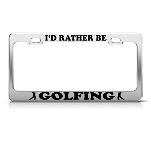 Speedy Pros Metal License Plate Frame Rather Be Golfing Golf Car Accessories Chrome 2 Holes