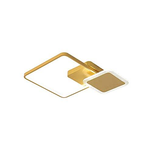 WenKaiLi Acabado de oro cuadrado LED Luz ultrafina de techo de montaje en color, iluminación lateral creativa, regulable (3000K / 4500K / 6000K) Lámpara de techo, ahorro de energía cerca de Luminarias
