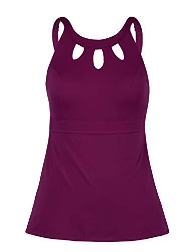 Septangle Women's Black Halter Tankini Top Cross Back Bathing Suit (Fuchsia, US 24W)