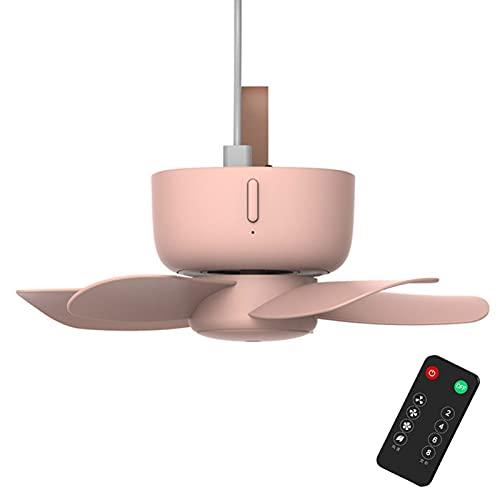 YOULEMIGN Mini Ventilador USB, Ventilador de Techo portátil con Control Remoto, Ventiladores personales pequeños y silenciosos con 4 velocidades para Oficina, hogar, Dormitorio, Viajes al Aire Libre