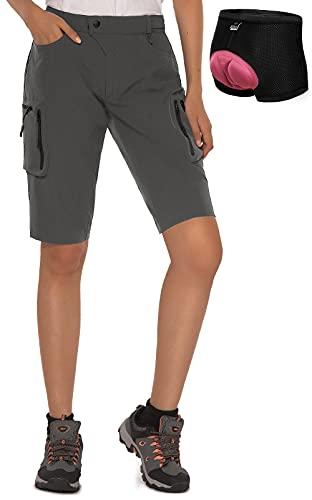 Cycorld MTB Shorts Damen Radhose, MTB Hose mit Innenhose und hochwertigem Sitzpolster, Schnelltrocknend Fahrradhose Damen Mountainbike Shorts Outdoor Shorts (DarkGrau mit Unterwäsche, L)