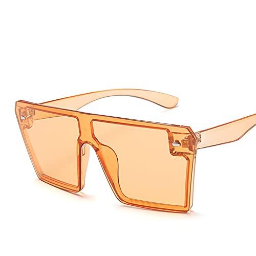 Gafas De Sol Cuadradas De Gran Tamaño para Mujer, Marca De Lujo A La Moda, Parte Superior Plana, Espejo con Marco Grande, Uv400, Una Pieza para Hombre, Sombra C11