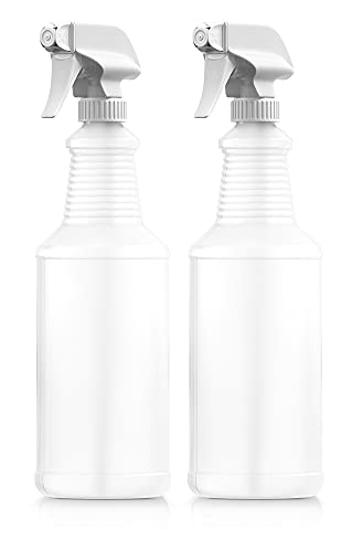 Bar5F Plastic Spray Bottles, 32 oz | Leak Proof, Empty, Adjustable Sprayer, Refillable, Made in USA, Dishwasher Safe | Water Plants, Cleaning Solutions, Hair Mist | 2 Pack