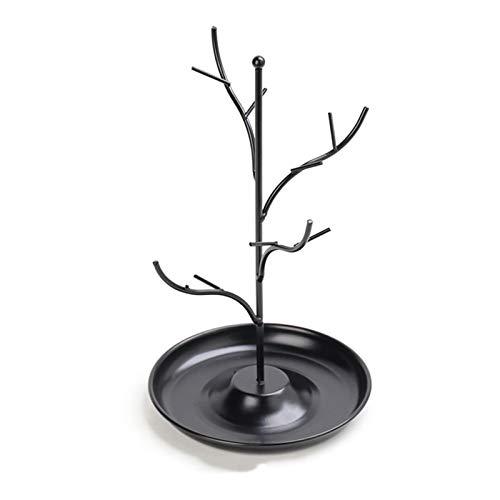Frolada Soporte de árbol estante de exhibición, diseño de rama presente de hierro forjado, soporte organizador para pendientes, collares, anillos, pulseras, tobilleras, color negro
