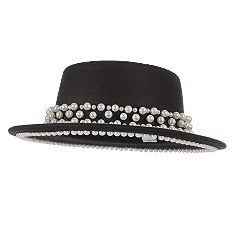 EOZY Sombrero Pork Pie con Perla para Mujer Hombre Elegante Sombreros de Fieltro de Vestir Negro,55-57cm(Ajustable) (Negro)