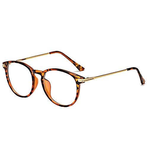 BOZEVON Gafas con Filtro de luz Azul - Gafas de Lectura para Protección UV Computadora Anti-fatiga Ocular Gafas para Juegos Gafas para TV para Mujeres Hombres, Leopardo, Luz anti-azul