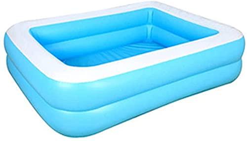 LEMI - Piscina gonfiabile per famiglia, rettangolare, per bambini, per feste estive, per bambini, 128 x 85 x 46 cm, colore: Blu