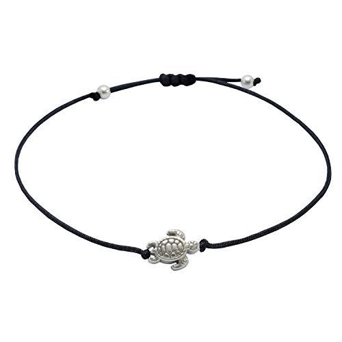 Schildkröten Armband Glücksbringer Armbändchen mit kleiner Schildkröte - Handmade Inkl. Geschenkverpackung (Schwarz - Silber)