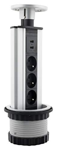 Otio stekkerdoos, inschuifbaar, 3 stopcontacten, 16 A, 2P+T en 2 USB-opladers