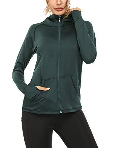 Sykooria Damen Jacken voll Reißverschluss Damen Laufjacke Hoodie leichte atmungsaktiv Langarm Damen Sportjacke mit Daumenloch und Seitentasche Fitness