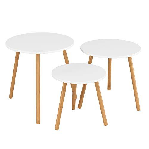 Homfa 3X Beistelltisch weiß Set Couchtisch rund Wohnzimmertisch Kaffetisch Satztisch Skandinavisch
