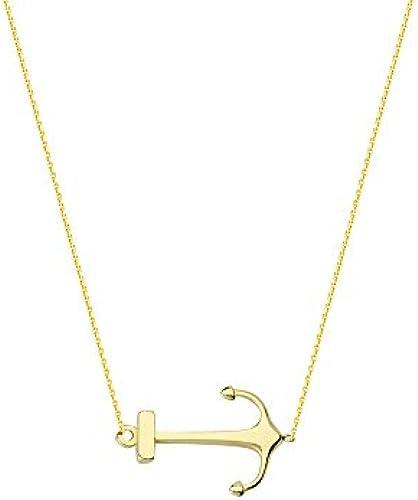 14  Gelb Gold side-ways Anker verstellbar Halskette 46cm