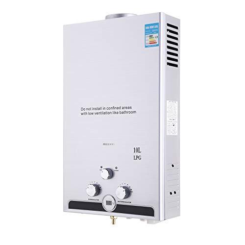 Valens 10L LPG Gas-Durchlauferhitzer Warmwasserbereiter Durchlauferhitzer mit LED Bildschirm Heißwasserbereiter Boiler Warmwasserspeicher Tankless Instant Boiler (10L)