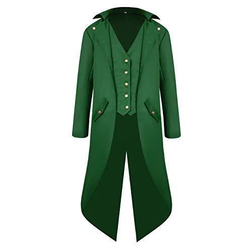 Men's Steampunk Vintage Tailcoat Jacket Gothic Victorian Medieval Halloween Costume Coat