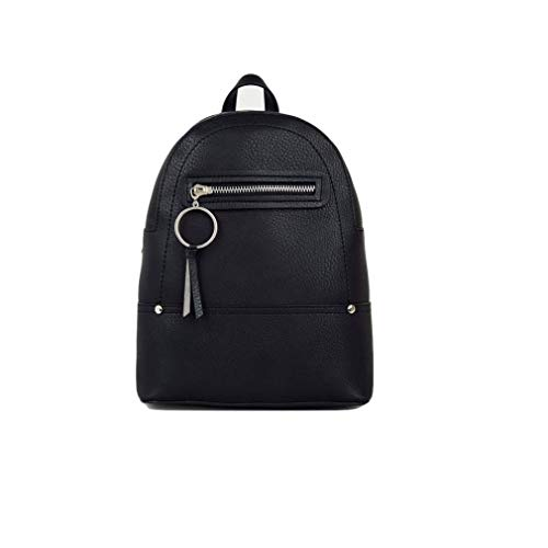 Ladies Ex New Look Small Black Zip Faux Leather Mini Back Pack Womens Ruck Sack