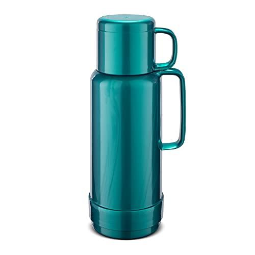 ROTPUNKT Isolierflasche 80 Andreas 1,0 l   Zweifunktions-Drehverschluss   BPA Frei- gesundes Trinken   Made in Germany   Warm + Kalthaltung   Glaseinsatz   Shiny Hummingbird