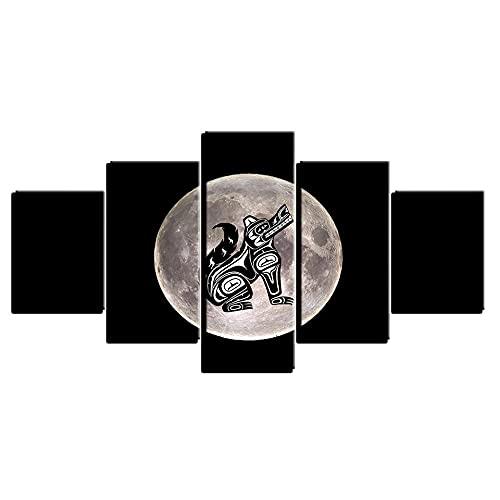 AQWSZ Cuadro En Impresión De 5 Piezas Material Tejido No Tejido Impresión Artística Imagen Gráfica Decoracion De Pared Cuadros Decoracion Laminas para Cuadrosluna Y Perro De Dibujos Animados