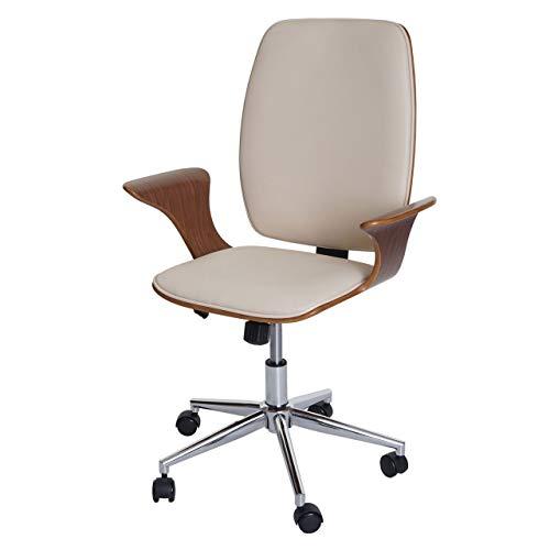 Mendler Bürostuhl HWC-C54, Chefsessel Drehstuhl, Bugholz Kunstleder ~ Walnuss-Optik, Bezug Creme-beige