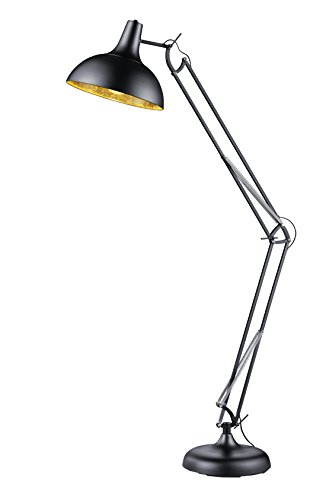Reality Leuchten Stehleuchte, Metall, E27, Schwarz / Goldfarbig, 75 x 38 x 180 cm