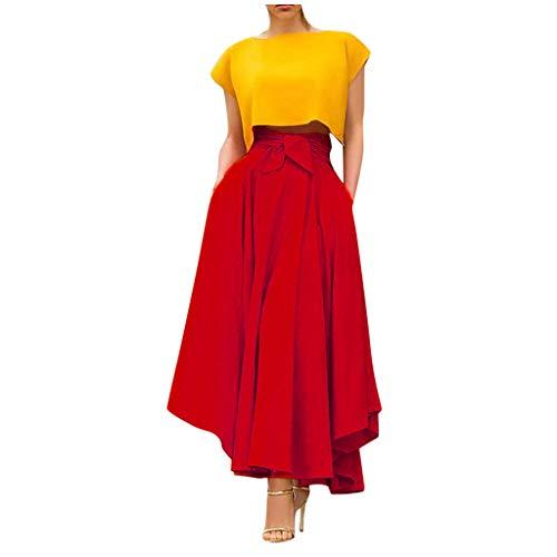 BXzhiri Falda de Estilo Bohemio para Mujer, Casual, de Color sólido, Faldas largas, Rojo, X-Large