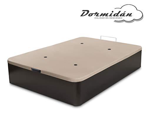 Dormidán - Canapé abatible de Gran Capacidad con Esquinas Redondeadas en Madera, Base tapizada 3D Transpirable + 4 válvulas aireación 150x190cm Color wengue