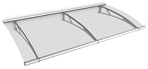 Schulte V1019-10-20 LT-Line Pultbogenvordach, 190 x 95 cm, 4 mm Acrylglas klar, Wandhalter Classic Edelstahl V2A, Vordach mit Alu-Regenrinne