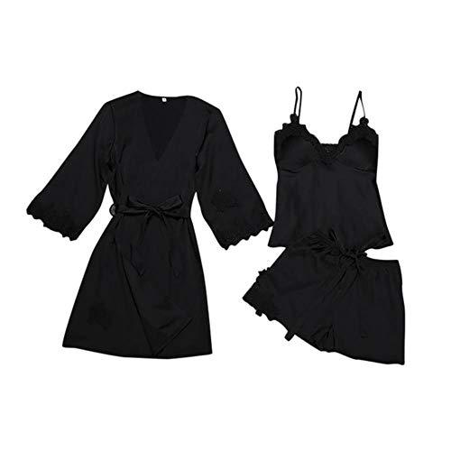 QVC Sexy Satin-Morgenmantel, Pyjama-Set, Spitze, Bademantel + Oberteil + Shorts, 3-teilig, Sommer, Frühling, Nachtwäsche für Damen, Nachtwäsche Gr. Large, Schwarz