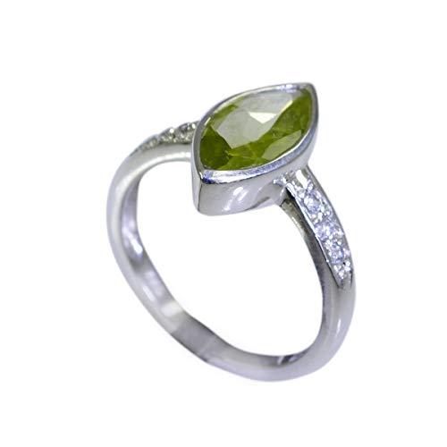 schmuck 925er massiver sterlingsilber eleganter natürlicher grüner Ring, Peridot grüner edelstein-silberring