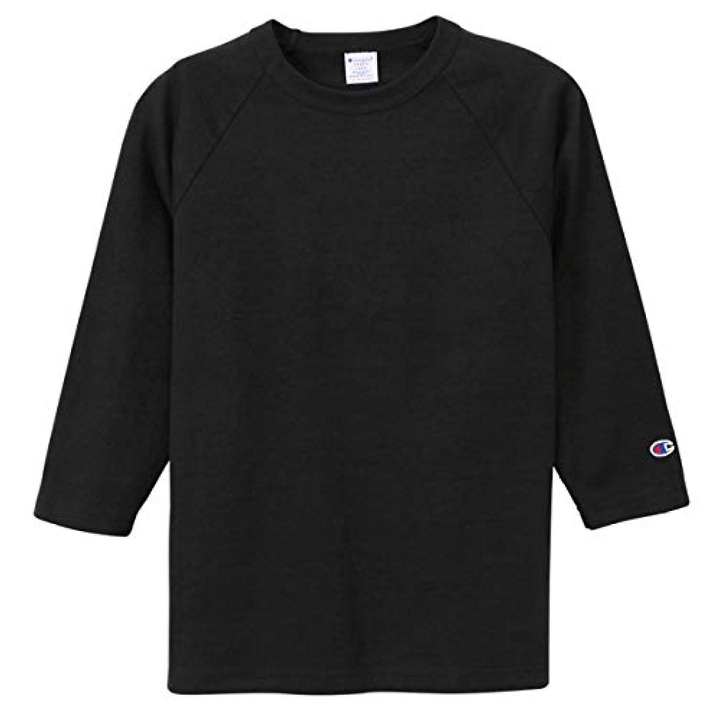 保存忍耐キャンプチャンピオン Tシャツ 7分袖 メンズ CHAMPION T1011 ラグラン3/4スリーブ 19SS MADE IN USA ブラック
