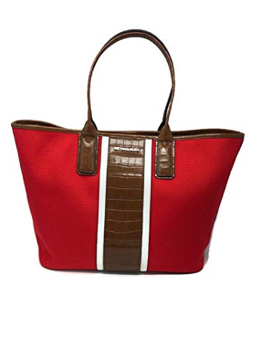 """MICHAEL Michael Kors Greenwich Large EW Tote Crocodile Print Embossed Coral Reef Red approx measurements: 18"""" across the top _ 14"""" across the base in front 12"""" tall, handles 8"""" tall, 6.5"""" wide Interior is nylon. 3 interior functions: 1 large zipper p..."""