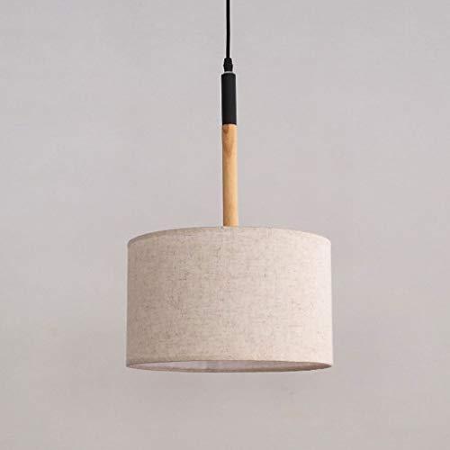 Landhaus hanglamp, modern, eenvoudige, houten lampenkap, rond, taupe, ijzeren hanglamp, creatief voor slaapkamer, eetkamer, woonkamer, studeerkamer, opknoping lamp, E27, Ø 40 cm, hoogte verstelbaar