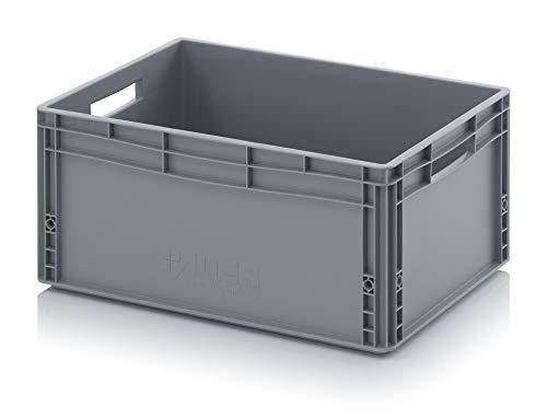 Eurobehälter EG 64/27 von Auer Kunststoffbox 60x40x27cm, 56L Handgriffe offen | Transportbehälter Lagerbox grau stapelbar | Lebensmittelbehälter Wohnmobilbox Kommissionierkiste