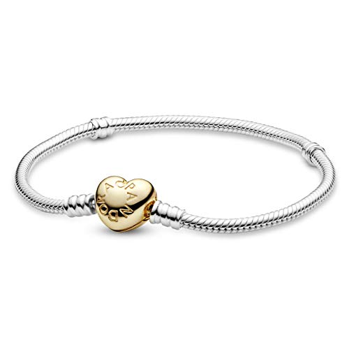 Pandora Moments Schlangen-Gliederarmband mit Herz-Verschluss, Silber/Gold, 17 cm