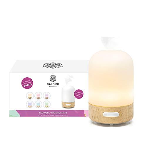 Baldini TaoWell Luftbefeuchter I Aroma Diffuser mit Ultraschall Vernebler I mit Wellness Licht in 6 Farben I Duftlampe für ätherische Duftöle (Natura Mini)