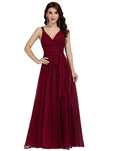 Ever-Pretty Vestito da Cerimonia Donna Tulle Linea ad A Scollo a V Senza Maniche Lungo Borgogna 50