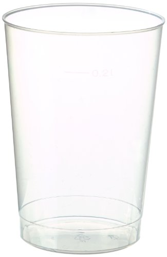 Papstar Plastikbecher / Einwegbecher 0.2 l transparent (40 Stück) Ø 6.8 cm Höhe 9.8 cm aus Polystyrol, stabile, splitterfreie und unzerbrechliche Einwegbecher mit Füllstrich, #16135