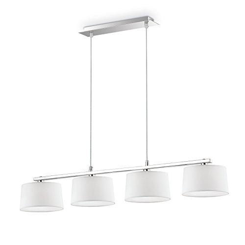 L'Aquila Design Arredamenti Ideal Lux Lustre Hilton Blanc Abat-jour Tissu Suspension Salon SP4 Linear